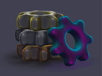 Stack of 3D digital multicolored gears on gray background.