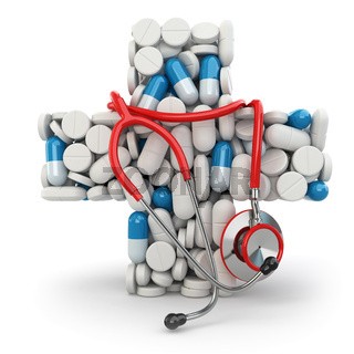 Concept of medicine. Cross from drugs and stethoscope.