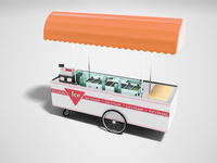 Selling ice cream in portable refrigerator on wheels 3d render on gray background with shadow