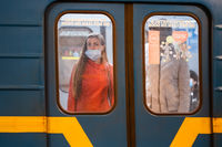 UKRAINE, KIEV - MAY 26, 2020: subway station Zoloty Vorota (Golden Gate). People in a subway car