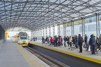 Passengers boarding Boryspil airport train