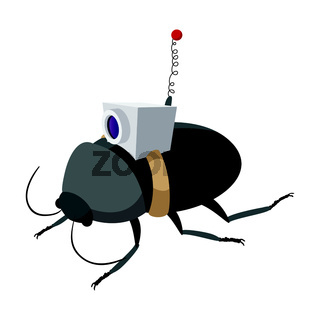 Video spy bug cartoon icon