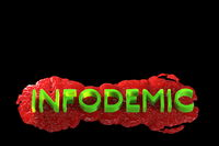 Infodemia lettering concept about pandemia and false information with coronavirus covid-19. 3d illustration isolated on black background with copyspace
