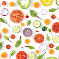 Fresh summer vegetables, a flat lay on a white background, vibrant food design, overhead square shot