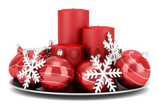 christmas table decoration with candles isolated on white background