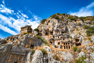 Rock-cut tombs in the ancient city of Myra, Turkey.
