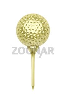 Golden golf ball and tee