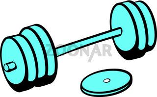 Barbell icon, icon cartoon