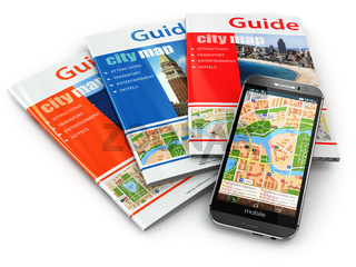 GPS mobile phone navigation  and travel guide books.