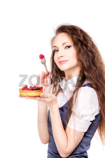 Woman enjoy cake