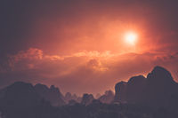 Yangshuo landscape panorama during sunset a sunny day
