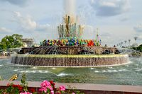 MOSCOW, RUSSIA - AUGUST 25, 2020: Fountain Stone Flower at VDNKh in Moscow