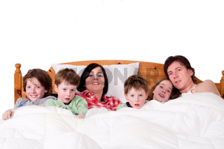 Whole family in bed