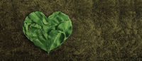 Valentine themed green plant leafs in the shape of a heart on the dark golden textured Flat lay.