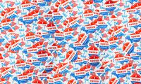 Background created from many election voting stickers or badges