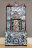 Ottoman era style fireplace, decorated with floral patterns ceramic tiles from Turkish Iznik town