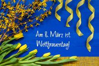 Spring Flowers, Branch, Ribbon, Weltfrauentag Mean International Womens Day