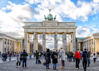 Branderburger gate with beautiful clouds on background. Berlin, Germany.