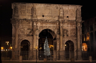Arch of Constantine by night in Christmas time. Rome