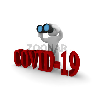Small character with binoculars and the word COVID-19