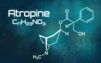 Chemical formula of Atropine on a futuristic background