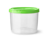 Front view of empty round plastic food container