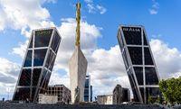 Bankia skyscraper in Plaza de Castilla Square in Madrid against sky