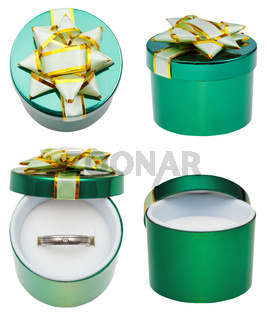 little round green box with wedding platinum ring