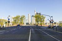 Empty Road with Bankenviertel Frankfurt in Background