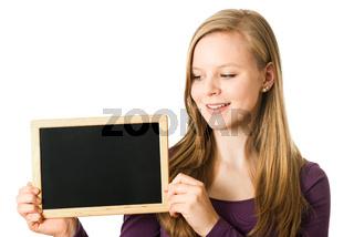 Teenager mit Kreidetafel