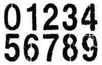 black numbers 0-9 on white