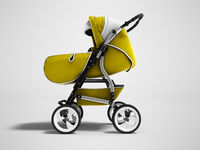 Modern yellow baby stroller transformer all-season 3d render on gray background with shadow