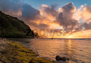 Sunset over the receding mountains of the Na Pali coast of Kauai in Hawaii