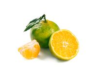 Green mandarines isolated on white background