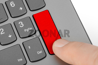 Computer notebook keyboard with blank red key