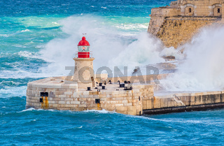 Malta Valetta Storm Old Lighthouse - Forti Rikażoli & British Control Towers Mediterranean Sea,