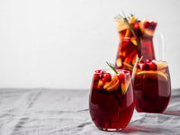 Winter sangria, copy space