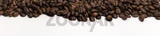 Panoramabild von Kaffeebohnen
