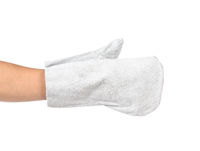 White working gauntlet on hand.