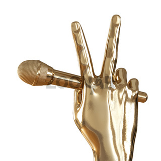 A golden hand with two fingers raised up holds a microphone on a white background. Back view. 3d rendering