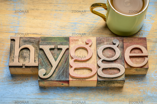 hygge word - Danish cozy lifestyle concept