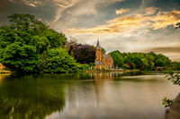 Bruges (Brugge) cityscape with Minnewater lake