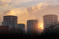 Round tower appartments in the sunset
