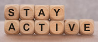 stay active printed on wooden cubes