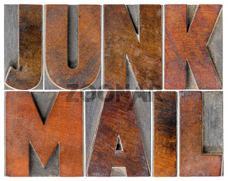 junk mail in wood type