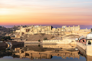 Amber Fort in India, Jaipur, sunset view