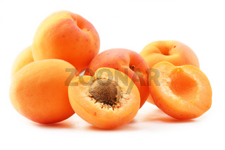Composition with fresh ripe apricots isolated on white background