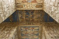 Ceiling decoration in the peristyle hall of the Mortuary Temple of Ramesses III