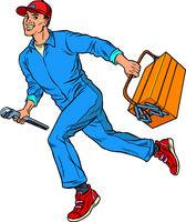 Male master repairman runs