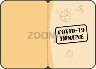 Immunity Passport With Stamp Vector